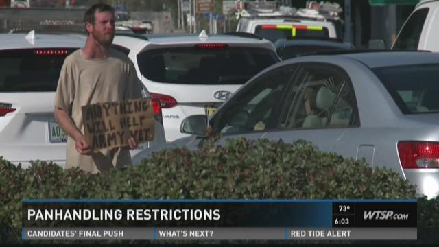 The city of Sarasota is considering a new law on panhandling.