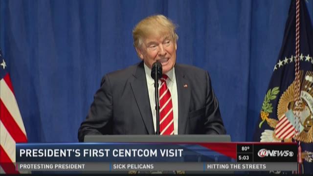 Trump visits CENTCOM, promises support, resources