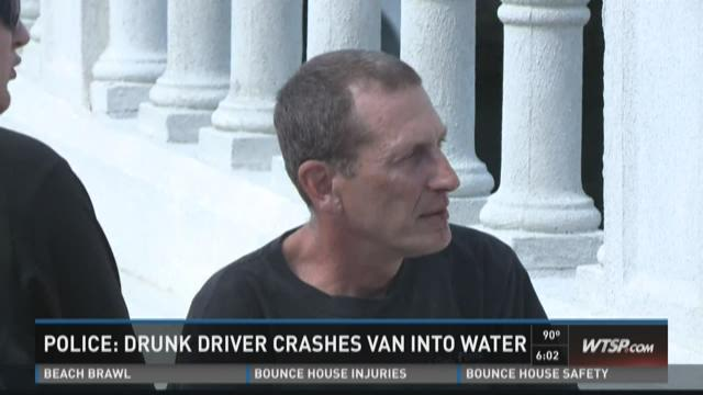 Police: Drunk driver crashes van into water