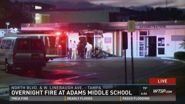 Fire at Adams Middle School