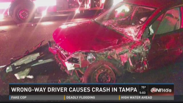Wrong-way driver causes crash in Tampa