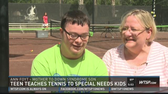 Student teaches tennis to special needs kids