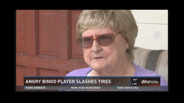 Angry Bingo player slashes tires