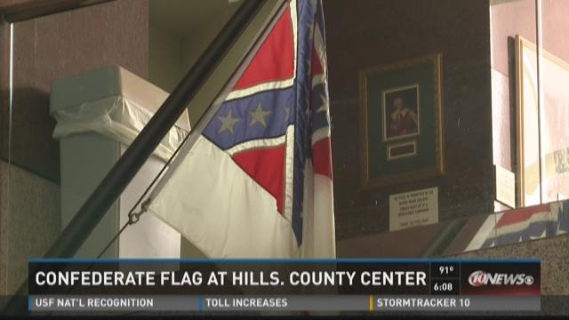 Confederate flag at Hills. County Center