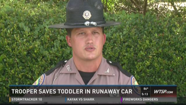 Trooper saves child in runaway car