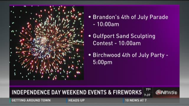 Independence Day weekend events and fireworks