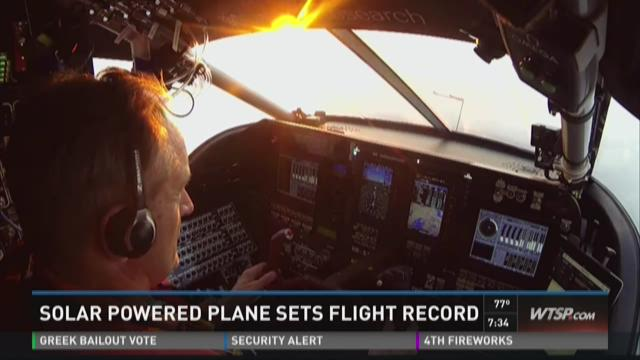 Solar powered plane sets flight record