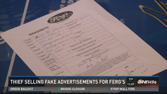 Thief selling fake advertisements for Ferg's