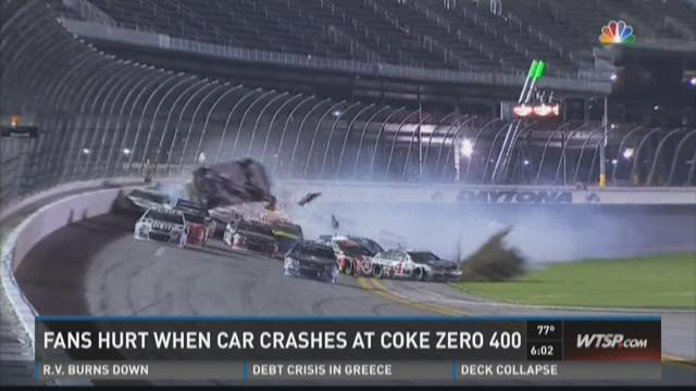 Fans hurt when car crashes at Coke Zero 400