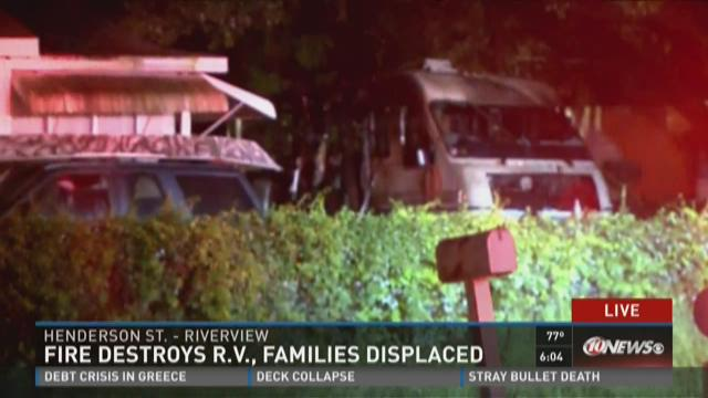 Fire destroys R.V., families displaced