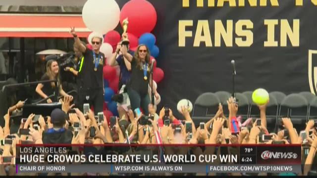 Huge crowds celebrate U.S. World Cup win