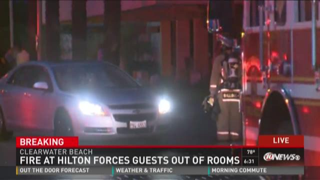 Fire at Hilton forces guests out of rooms