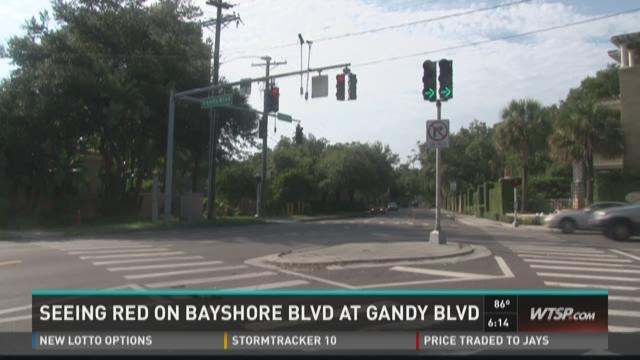 Seeing Red on Bayshore Blvd at Gandy Blvd.