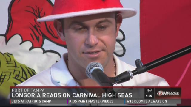 Rays Longoria reads to kids on Carnival High Seas