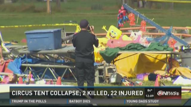 Circus tent collapse; 2 killed, 22 injured