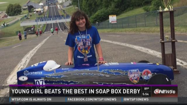 Young girl beats best in soap box derby
