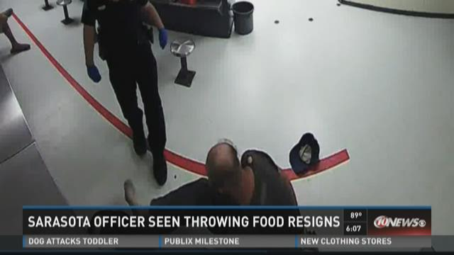 Sarasota officer seen throwing food resigns