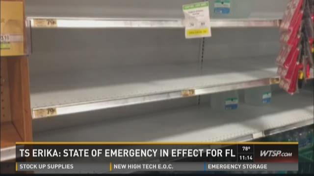 Florida, Bay area prepare for Erika
