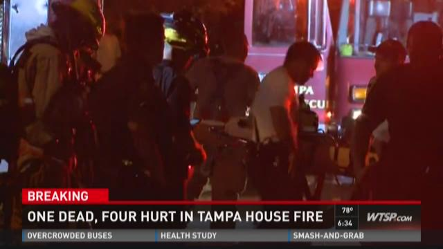 One dead, four hurt in Tampa house fire