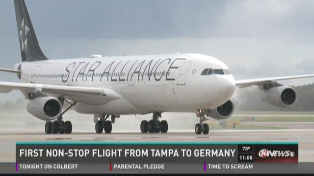 First nonstop lufthansa flight finally lands in tampa for Lufthansa direct flights to germany