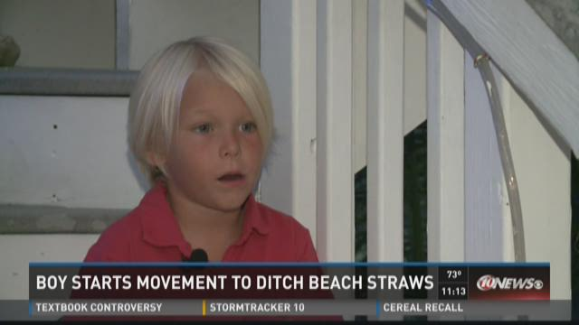 Boy starts movement to ditch beach straws