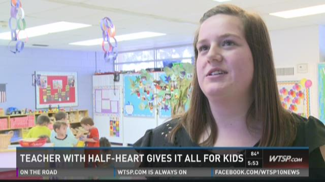 Teacher with half a heart gives it all for kids