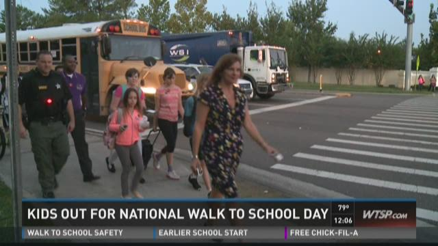 Kids out for National Walk to School Day