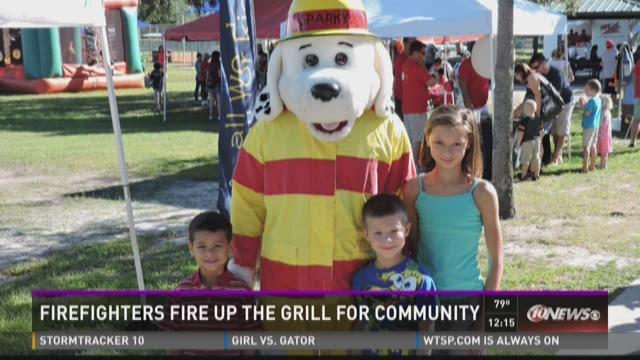 Firefighters fire up the grill for community