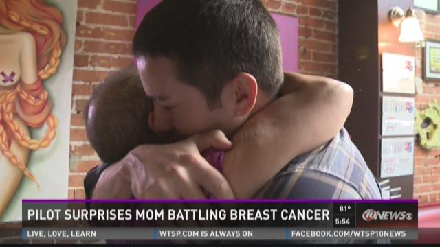 Pilot surprises mom battling breast cancer