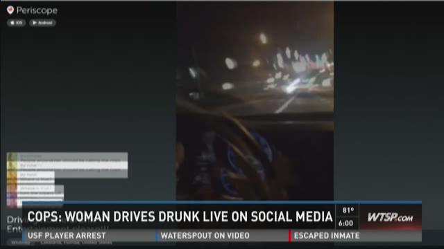 Cops: Woman drives drunk live on social media