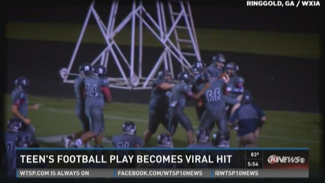 Autistic teen's high school football play becomes viral hit