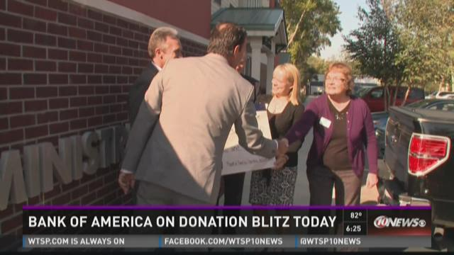 Bank of America on a donation blitz Tuesday