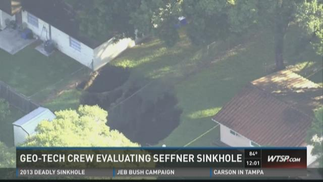 Geo-tech crew evaluating Seffner sinkhole