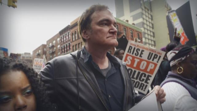 Director Quentin Tarantino attends a march to denounce police brutality in Washington Square Park October 24, 2015 in New York City.